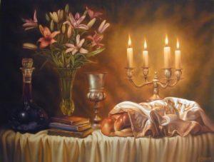 Mesa para el sabbath judío