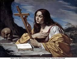 María Magdalena, calavera y crucifijo