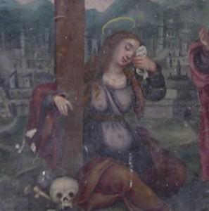 María Magdalena, embarazada y al pie de la cruz