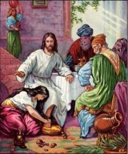 Mujer unge los pies del Señor