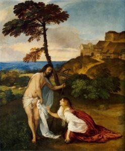 Jesús resucitado y María Magdalena -Tiziano
